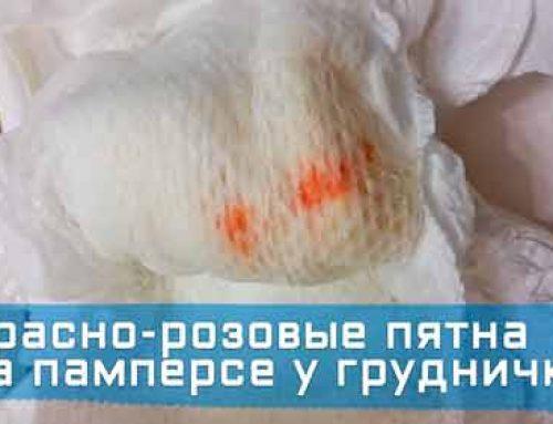 Красно-розовые пятна на памперсе у грудничка (девочка/мальчик, 3-9 месяцев).